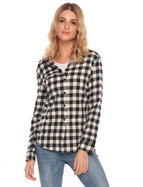 47dd72e6d Meaneor Women's Casual Long Sleeve Button Down Collared Loose Plaid Flannel  Shirts Black/S