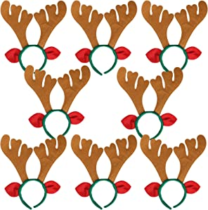 Max Fun Christmas Headbands Reindeer Antlers Headband Xmas Decoration Costume Hairbands for Christmas Parties Holiday Favors Photo Booth(Pack of 8)