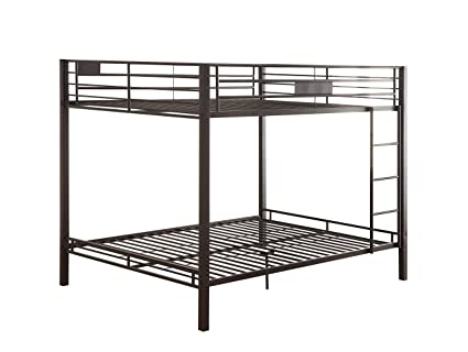 Amazon Com Acme Kaleb Sandy Black Queen Over Queen Bunk Bed