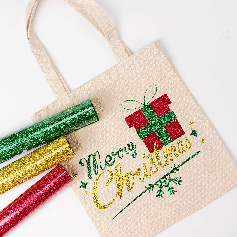 Garments Canvas Bags and Other Fabrics-9.5Inch X 3Yard-Red Glitter Flake Design Great for T-Shirt RUSPEPA Glitter Heat Transfer Vinyl