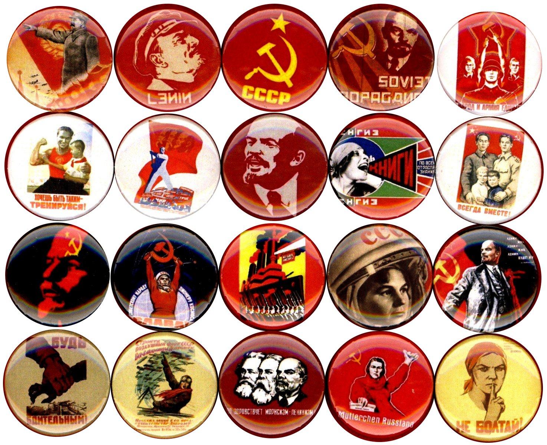 Communist propaganda x 20 NEW 1'' inch (25mm) button pin badge soviet ussr stalin lenin poster …