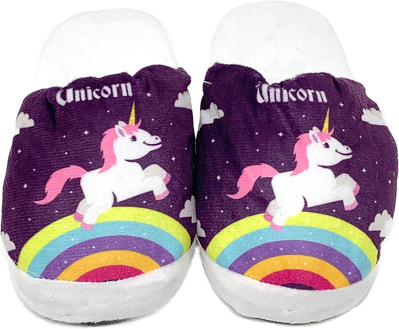 Girls Unicorn Plush Home Slip-On Slippers Bedroom Slippers