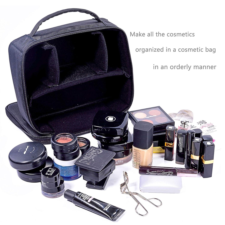 Makeup Train Case Makeup Bag Organizer Travel Makeup Case Cosmetic Bag (9.8'' Black)