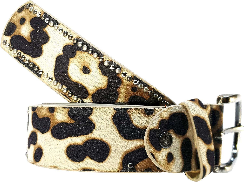 Cinturon tachuelas mujer leopardo cuero piel animal print