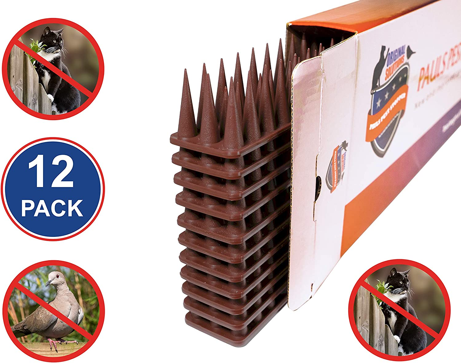 Original Solutions [Upgraded] Defender Spikes Cat and Bird Deterrent Outdoor Anti-Climb Security Pigeon Repellent Strips - 12 Pack [16.97FT]