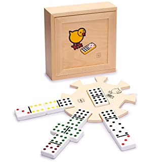 Yellow Mountain Imports Chicken Foot Complete Game Set with Double 9 Dominoes, Wooden Case, Hub, and Scorepad