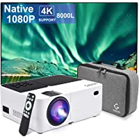 Gobran Projector Native 1080P, 8000L Full HD Video Mini Projector, Protable Outdoor Movie Projector 4K Supported with…