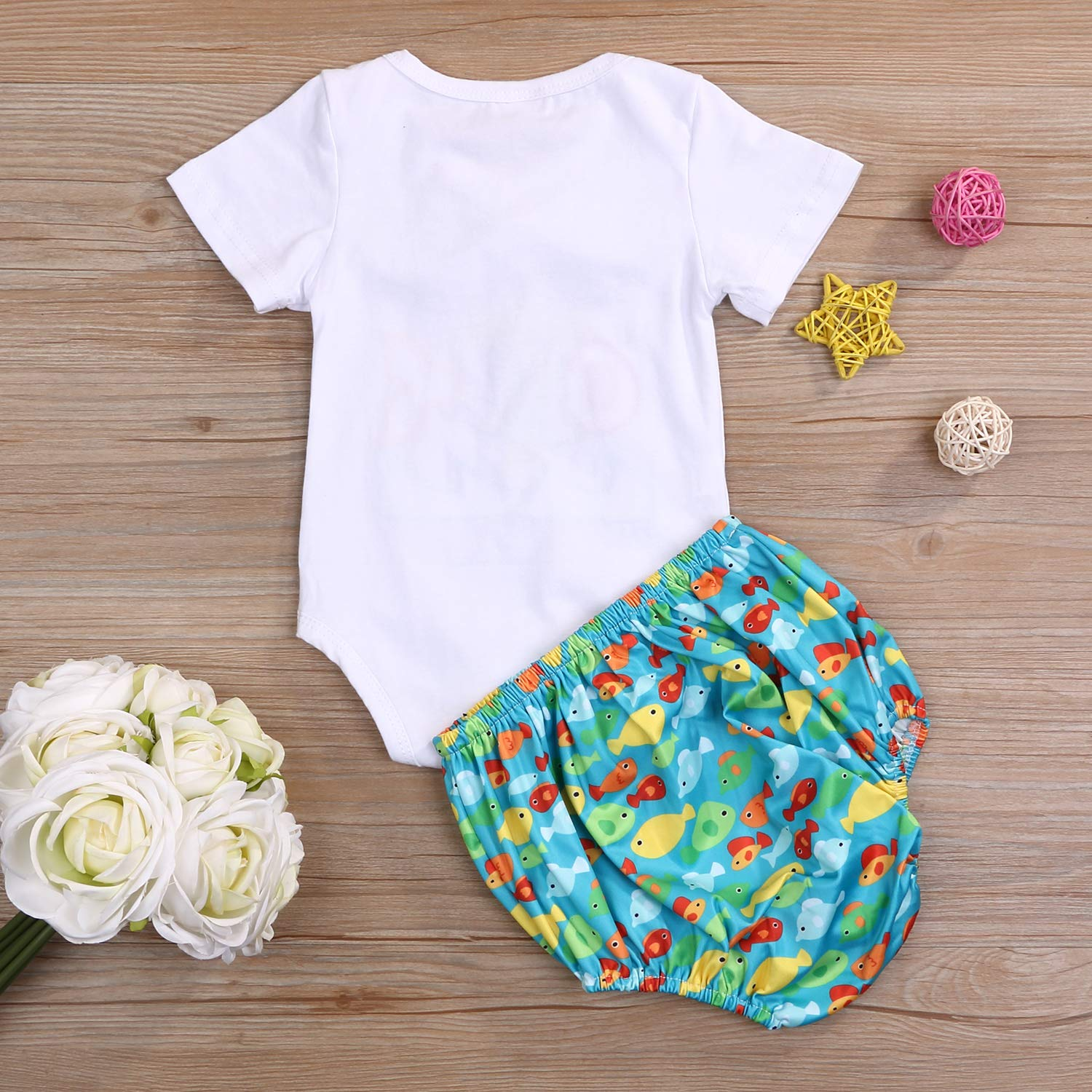 O-Fish-Ally One Boys First Birthday Outfit Infant Fishing Boy Bow Tie Short Sleeve Romper+Diaper Cover Cake Smash Outfits