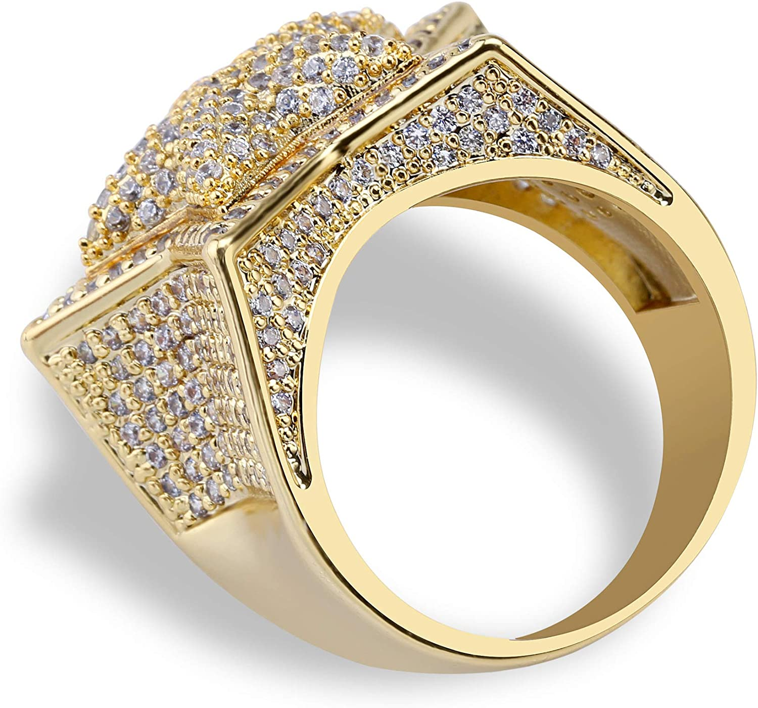 Moca Jewellery Iced Out Pentagram 3D Ring 18K Gold Plated Bling CZ Simulated Diamond Hip Hop Ring for Men