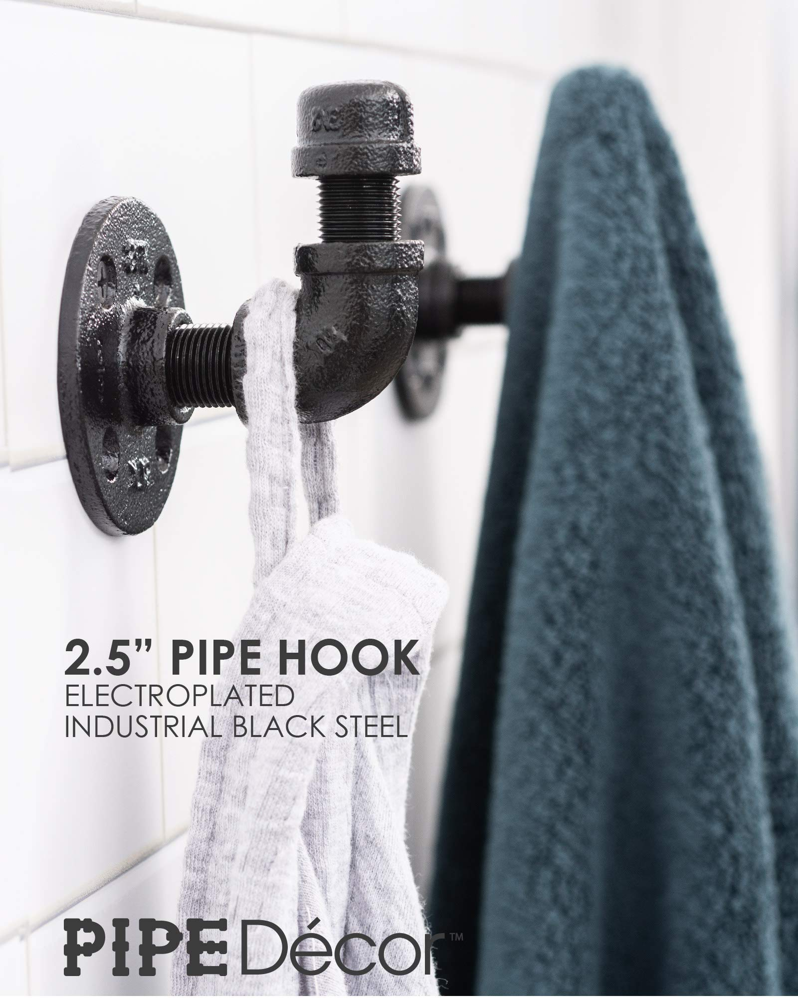 Towel and Robe Hook Set by Pipe Decor, Heavy Duty DIY Style, Rustic and Chic Industrial Iron Pipe Electroplated Black Finish, 3 Hooks Perfect for Bathroom Towels, Robes, or Coats, Oil and Rust Free 4