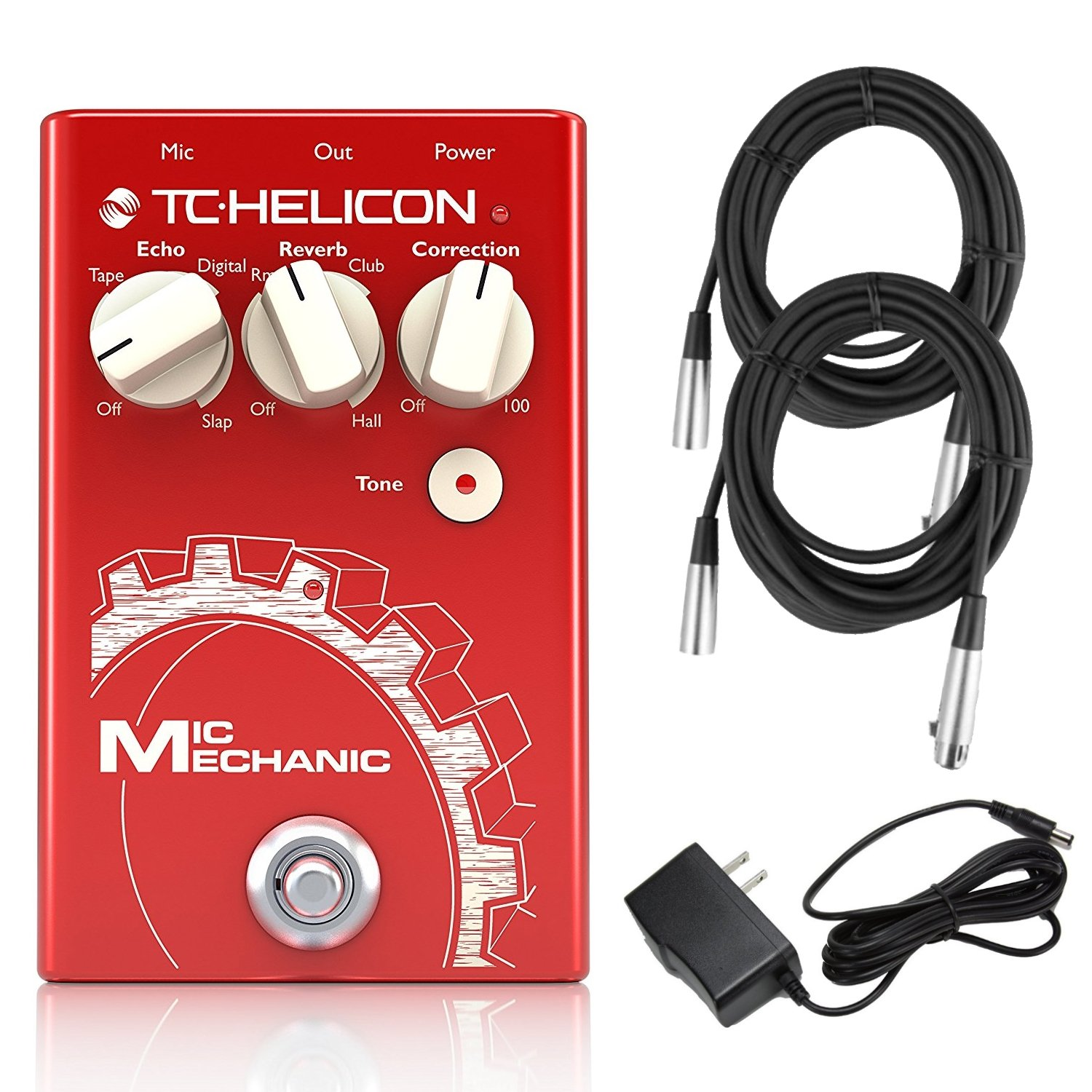 TC Helicon Mic Mechanic 2 Vocal Effects Processor Bundle with (2) 20' XLR Cables and 9V Power Supply TC Electronic