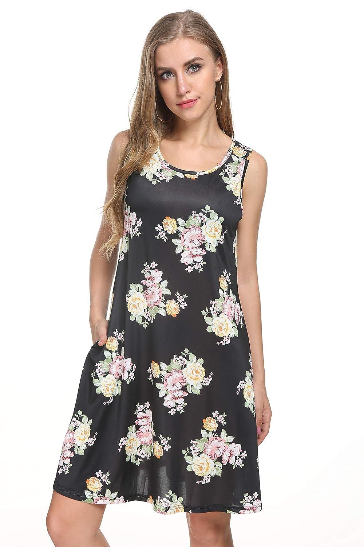 Black Floral Melurco Women's Floral Print A Line Sleeveless Flowy Tank Dress