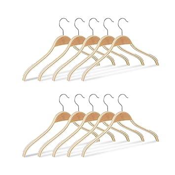 Kleiderbügel Holz 10er Set Hosenbügel Steg Hemdenbügel Garderobenbügel Holzbügel