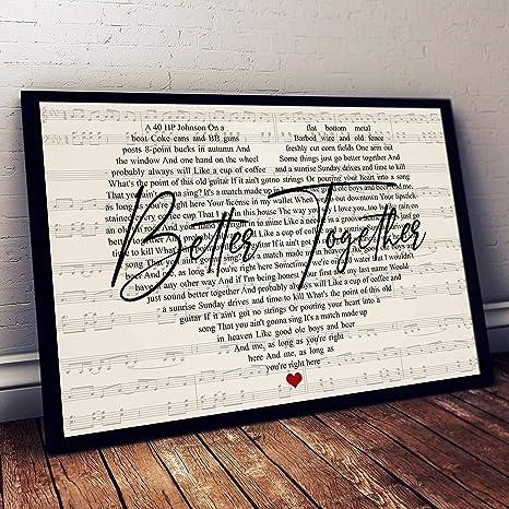 Better Together Poster Luke Combs Music Song Wall Art Song Lyrics Art Print