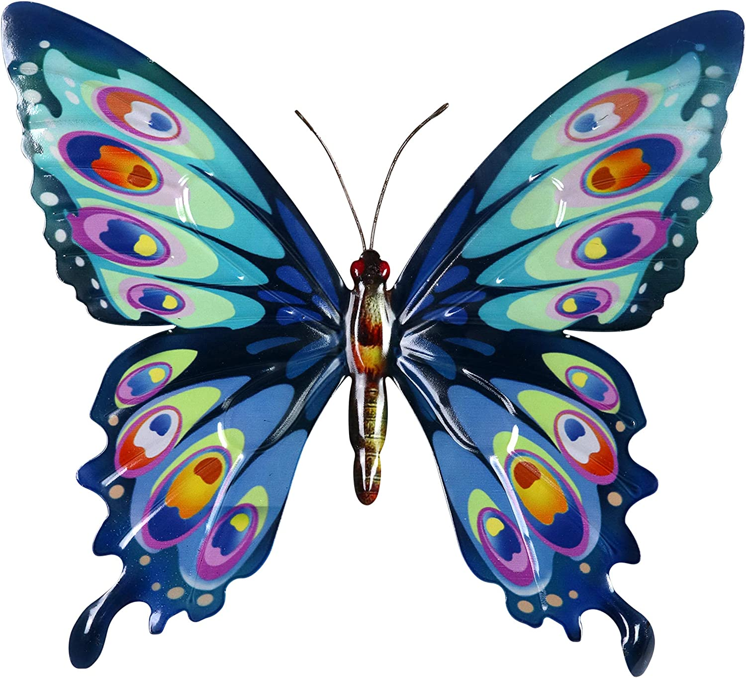 """Exhart Metal Butterfly Wall Art – Butterfly Wall Decor for Home or Garden – Hand-Painted Metal Wall Hanging – Wall Art Butterfly Décor Made from Weather-Resistant Metal – 14.5"""" L x 1"""" W x 13"""" H"""