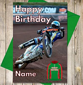 Cradley Heathens Personalised Speedway Birthday Card Any Name