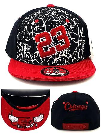 Chicago New Greatest 23 MJ Youth Kid Jordan Bulls Black Red White Cement  Era Snapback Hat Cap  Amazon.co.uk  Sports   Outdoors 7f4f888702e