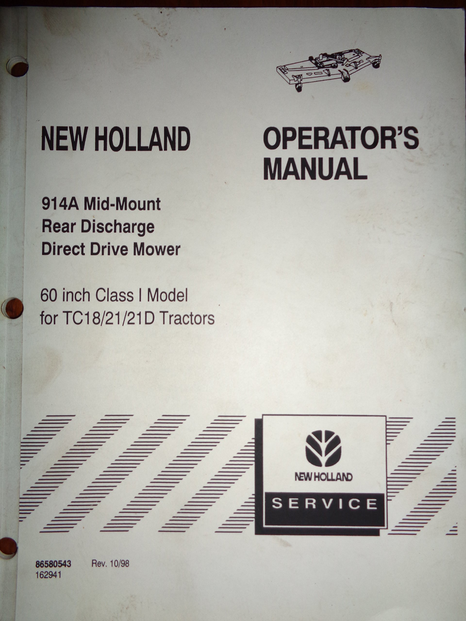 New Holland 914A Mid-Mount Rear Discharge Mower Operators / Parts Manual  (for use on TC18/TC21/TC21D Tractors) 10/98: New Holland: Amazon.com: Books