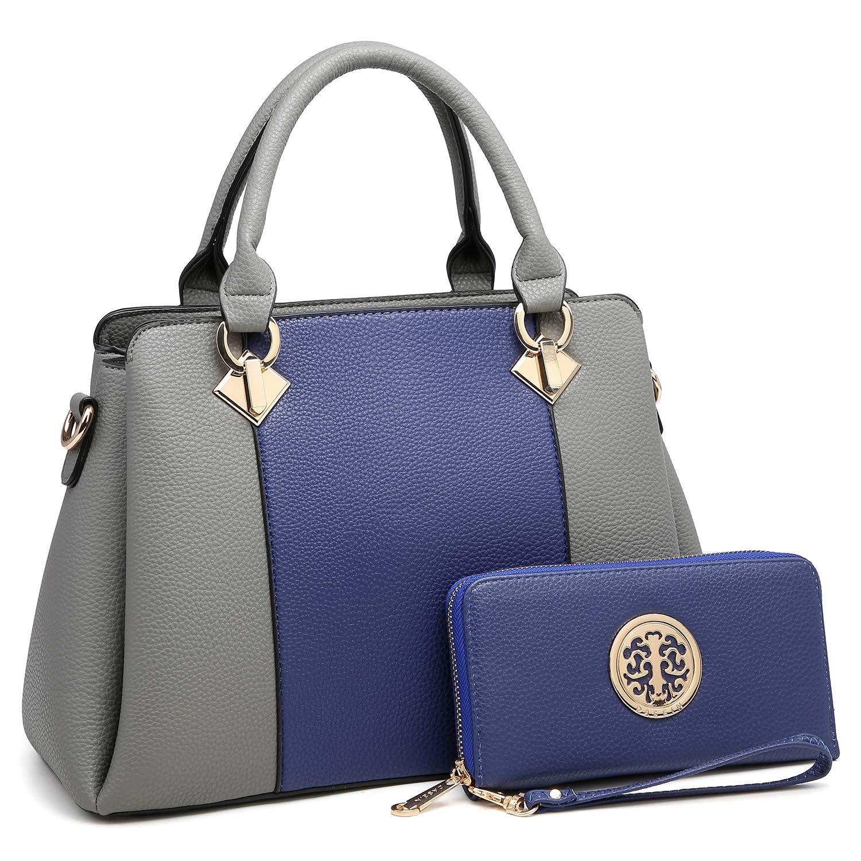 4cea30213b Amazon.com  MK Belted collection Fashion Hobo Handbag for Women~2 PCS Women s  Tote Bag Satchel Handbag Shoulder Bags W coin purse (8013-Blue Grey)  Marco  ...