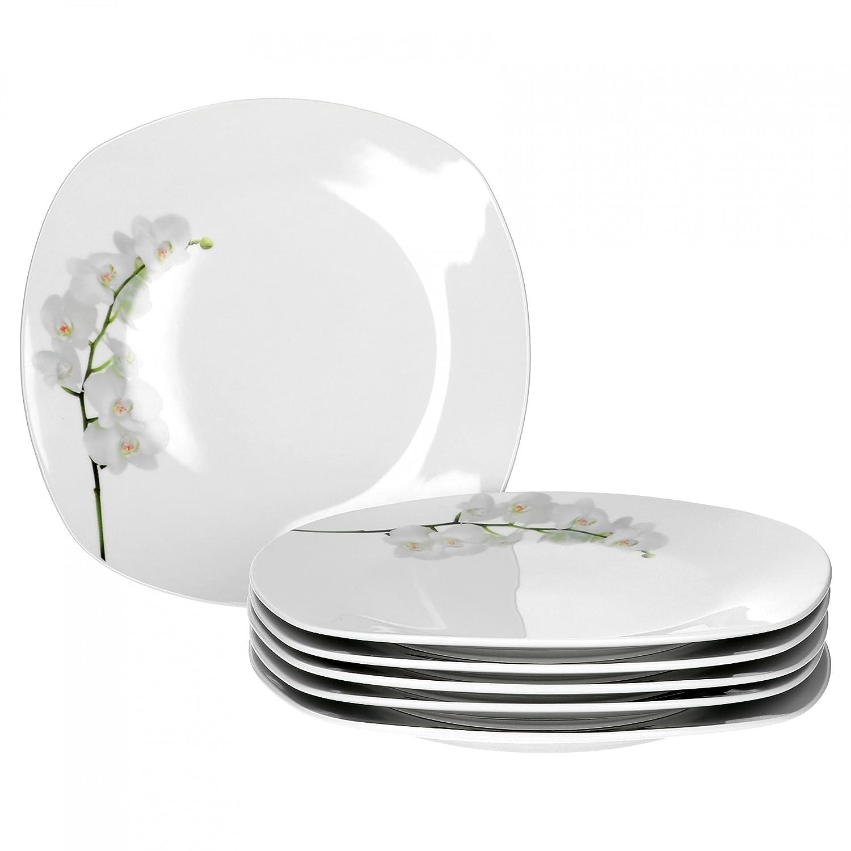 6er Set Kuchenteller Kyoto Orchidee 18,5cm Dessertteller Teller weiß Porzellan