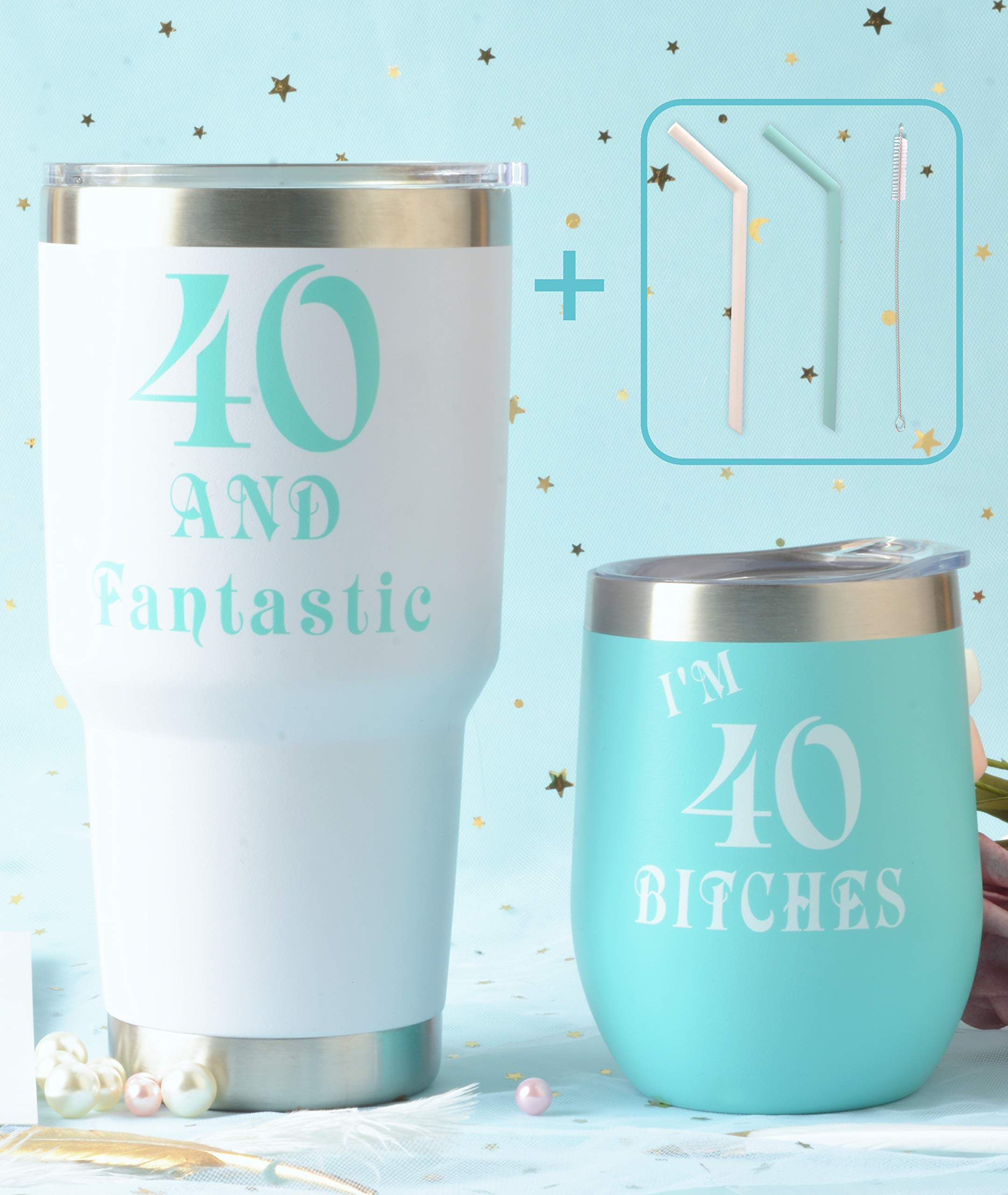 40th Birthday Wine Tumbler Mint Pack | Forty and Fantastic Wine Tumbler | 40 and Fabulous 12oz + 30oz Stainless Steel Wine Glass Tumbler with Lid and Reusable Silicone Straw | 40th Birthday Gift for W