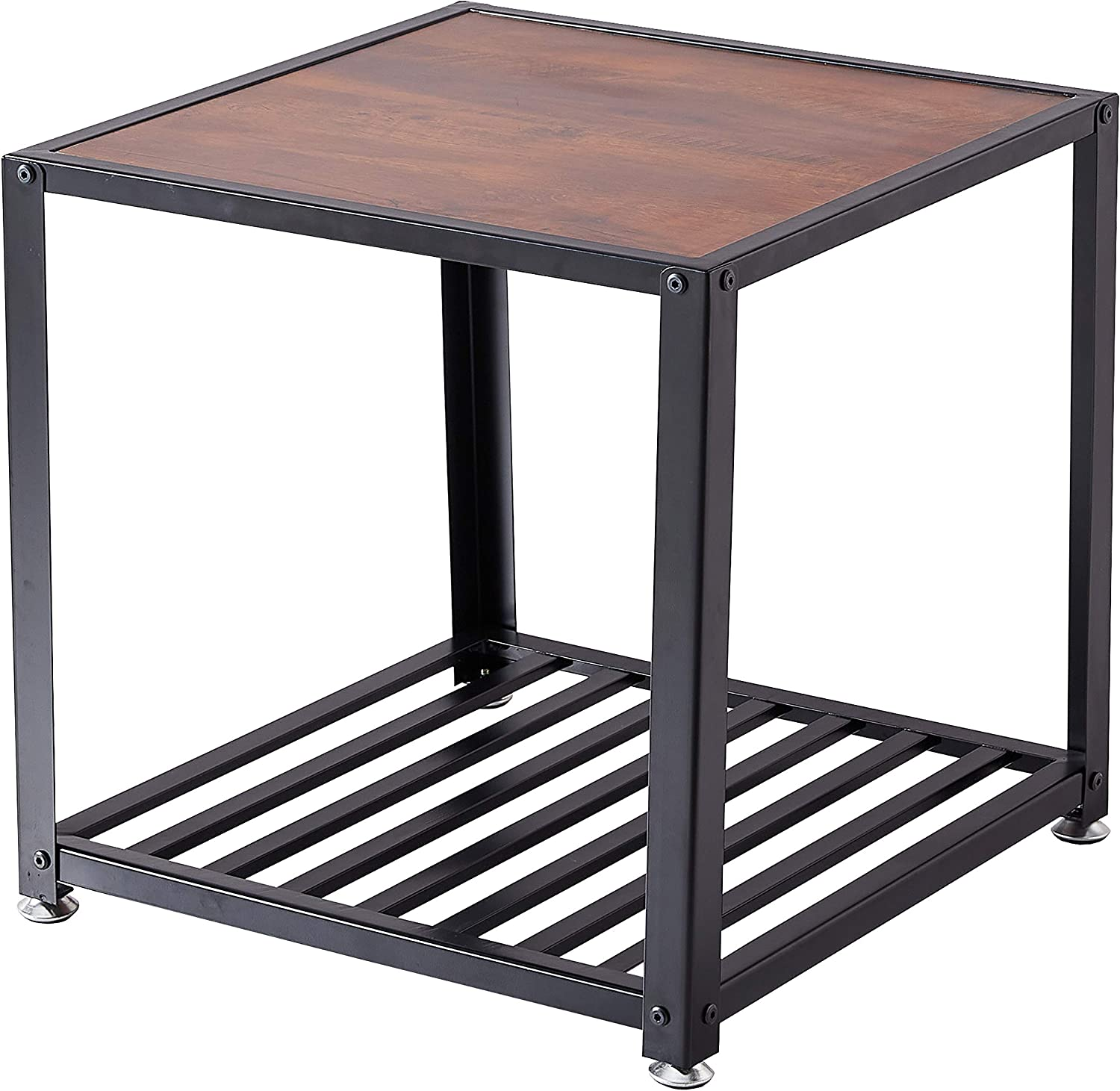 Loglus End Table/Side Table with Metal Shelf for Living Room, Office, Easy Assembly (ET002)