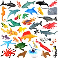 [36 Pack] Ocean Sea Animals Bath Toys for Party Favor Supplies - 2-4 inch Rubber Ocean Creatures Figures with Marine…