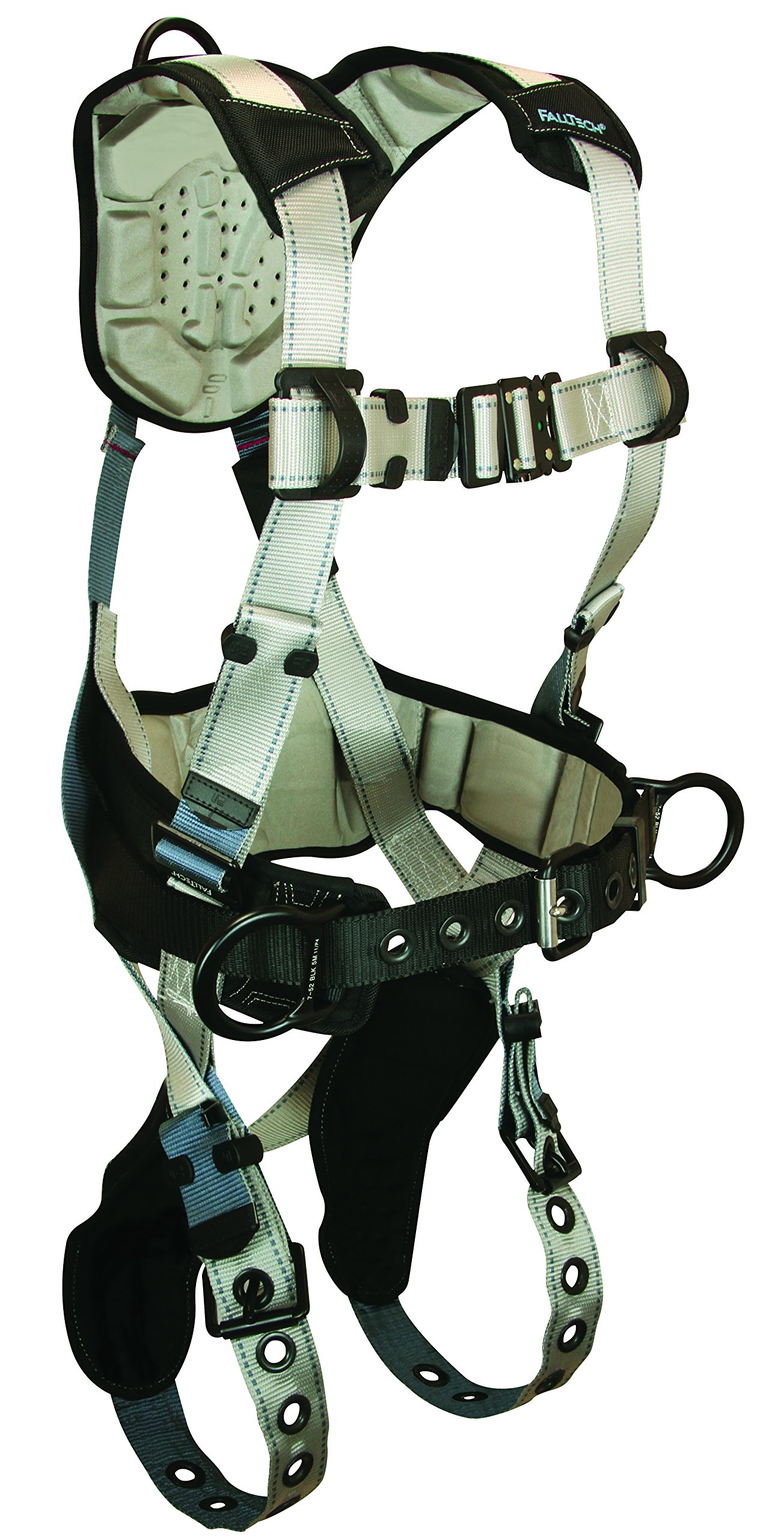 FallTech 7088XL FlowTech Belted Construction Full Body Harness with 3 D-Rings, FlowScape Pads, Tongue Buckle Legs and Quick Connect Chest, Gray/Black, X-Large