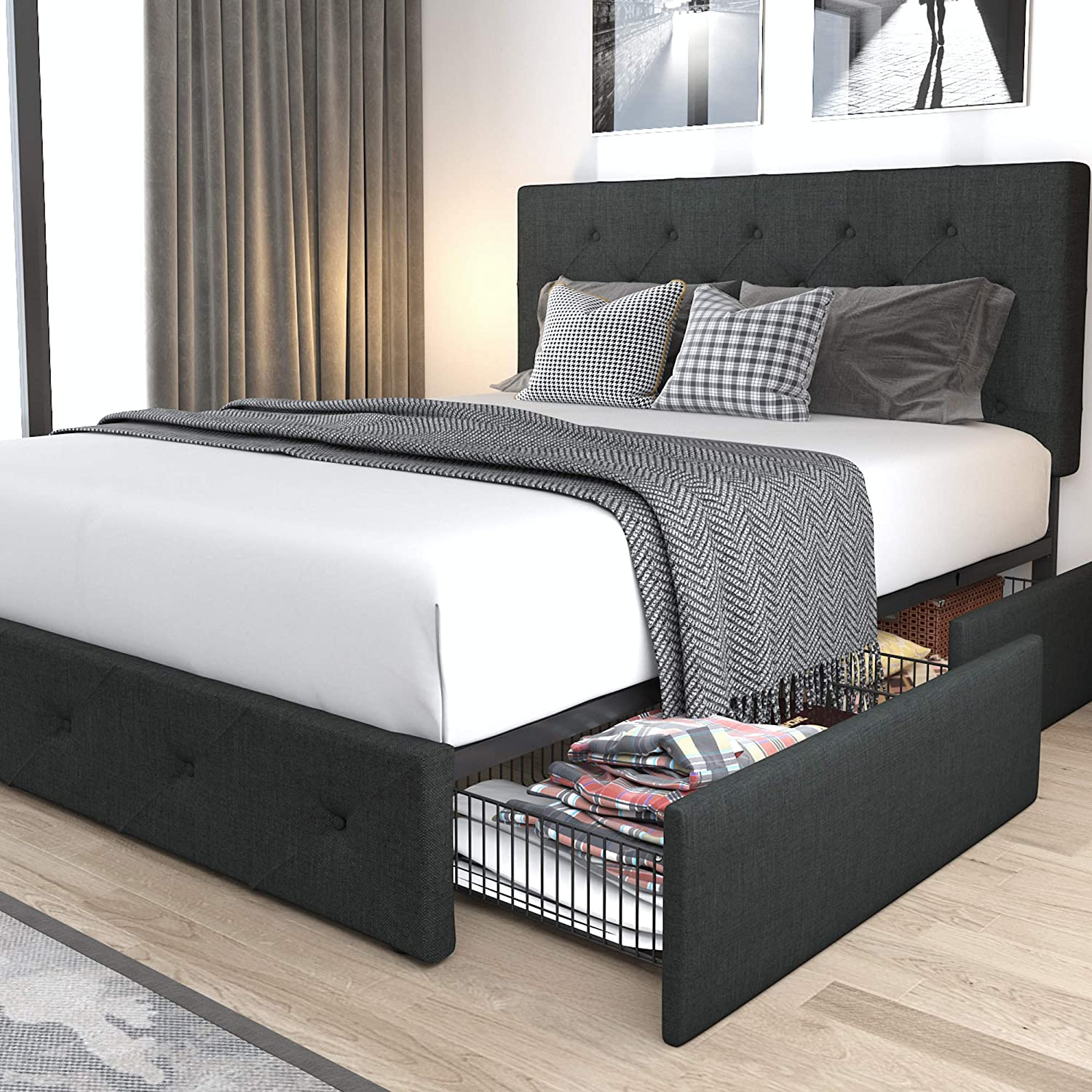 Allewie Queen Platform Bed Frame with 4 Drawers Storage and Headboard, Diamond Stitched Button Tufted Upholstered Mattress Foundation with Wood Slat Support, No Box Spring Needed, Dark Grey
