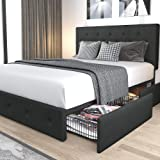 Allewie Queen Platform Bed Frame with 4 Drawers Storage and Headboard, Diamond Stitched Button Tufted Upholstered Mattress Fo