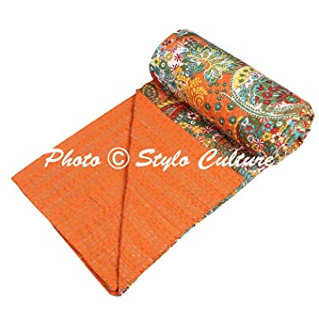 Traditional Ethnic Kantha Indian Bed Throw Single Orange Cotton Paisley Hand Stitched Blanket Bedding Quilt Bed Cover Coverlet by Stylo Culture