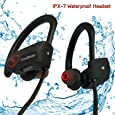 CrossBeats® Wave Wireless Bluetooth Earphones Headset Headphones Sports IPX-7 Waterproof,8-Hrs Playtime, with Carry Case, HD Sound, Super Bass for mobile (Brick Black)