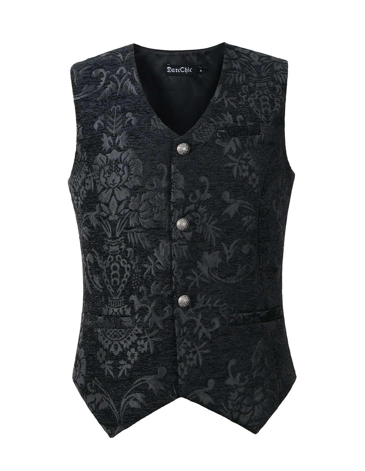 DarcChic Mens Vest Waistcoat Gothic Steampunk Victorian (M, Black Tapestry) by DarcChic
