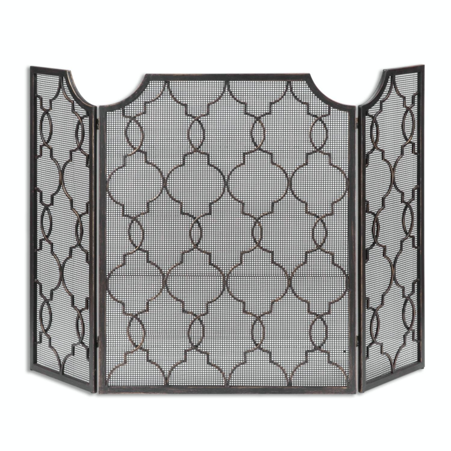 52.125'' Wentworth Hand Forged Antiqued Tri-Panel Fireplace Screen with Mesh Interior