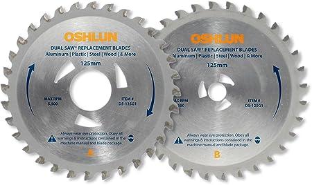 oshlun ds-125g1 Ersatz 2 Sägeblatt-Set für die Original Omni Dual-Säge mit dreieckiger Treiber Löcher