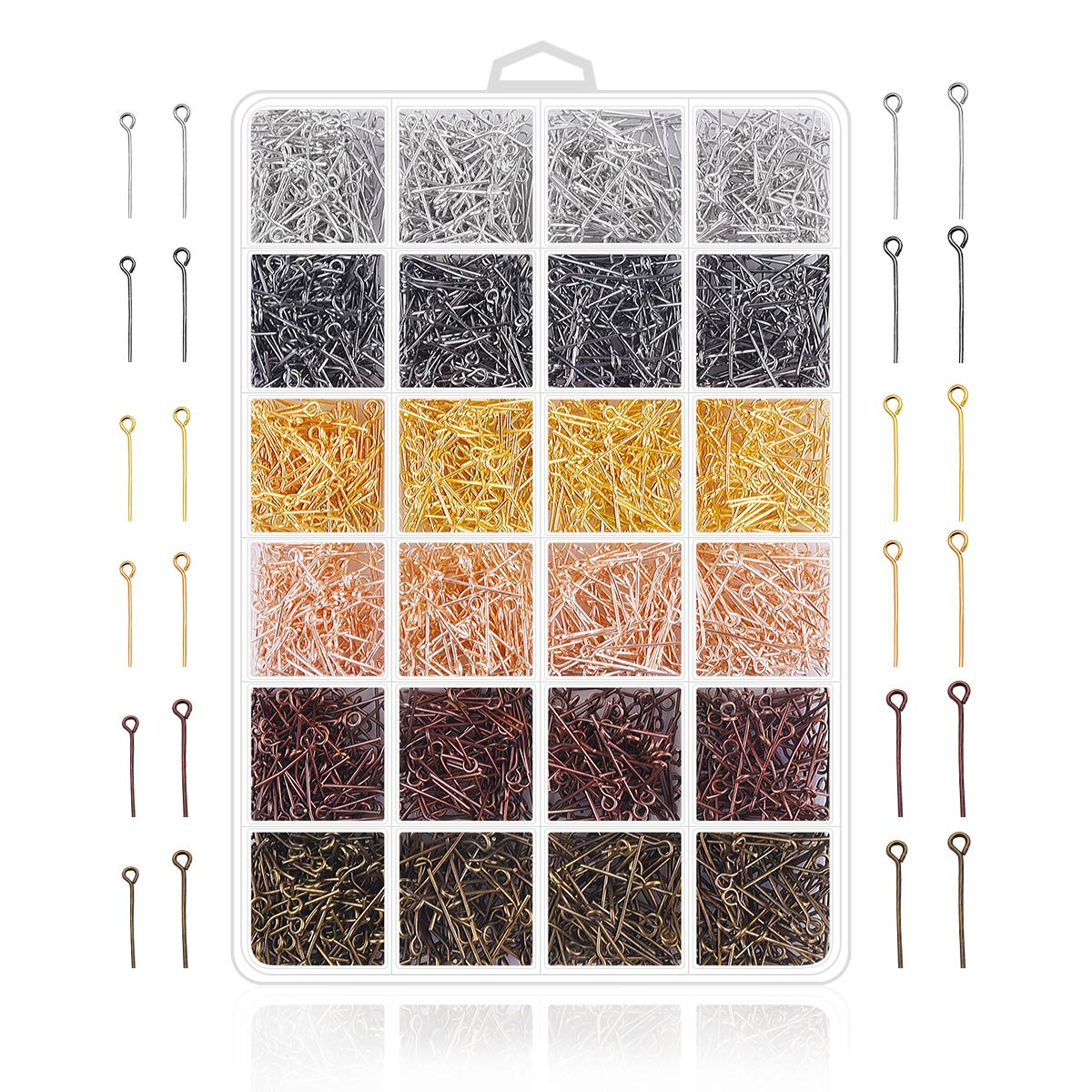 Jewelry Making Pins Supplies 2400Pcs Jewelry Head Pins and Eye Pins for Charm Beads DIY Making Head pin