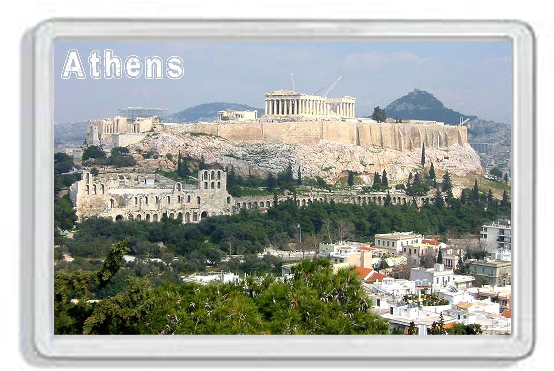 AWS Magnete in pvc rigido Atene Grecia Acropoli souvenir calamita fridge MAGNET magnete da frigo in plastica dura con immagine fotografica Athens Greece Acropolis Athene (7, 8_x_5, 2_cm)