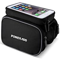 Bike Frame Bag, Poweradd Bicycle Top Tube Bag Touchscreen for Smartphone Cycling Pannier Bag for Mountain Bike, Road Bike and other (Black)