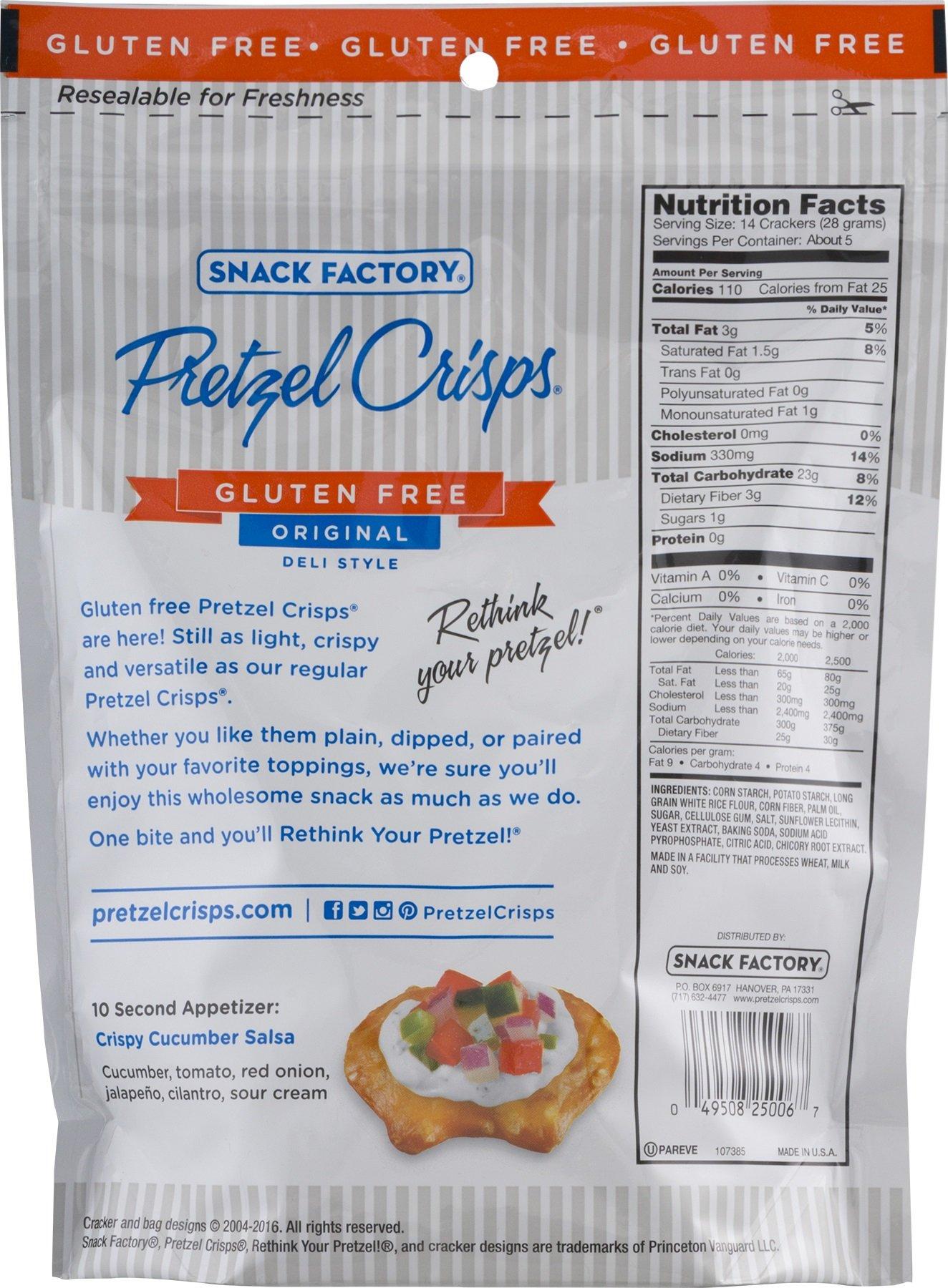 Snack Factory Gluten Free Pretzel Crisps, Original, 5 Ounce (Pack of 8)