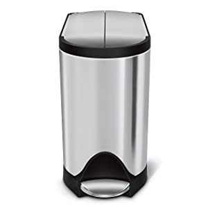 simplehuman 10 Liter / 2.6 Gallon Butterfly Lid Bathroom Step Trash Can, Brushed Stainless Steel