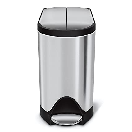 Simplehuman 10 Liter 2 6 Gallon Butterfly Lid Bathroom Step Trash Can Brushed Stainless Steel