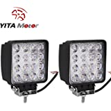 """YITAMOTOR 2 PCS FLOOD 5"""" inch 48W Square LED WORK LIGHT OFFROAD SUV 4WD Driving LAMP 12V 24V"""