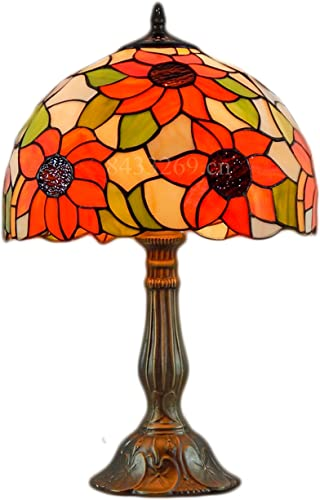 Mural Times Lighting Tiffany Lamp W12H18 Inch Sunflower Handmade Stained Glass Lampshade