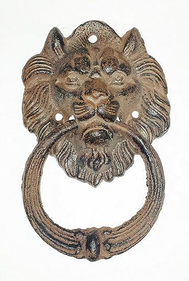 Large Cast Iron Antique Style Rustic LION HEAD Door Knocker Brown Finish