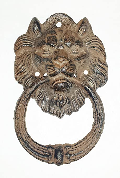 Starworld- Heavy Cast Iron Antique Style Nautical LION HEAD Door Knocker  6.5 inch Brown Finish - Amazon.com : Starworld- Heavy Cast Iron Antique Style Nautical LION