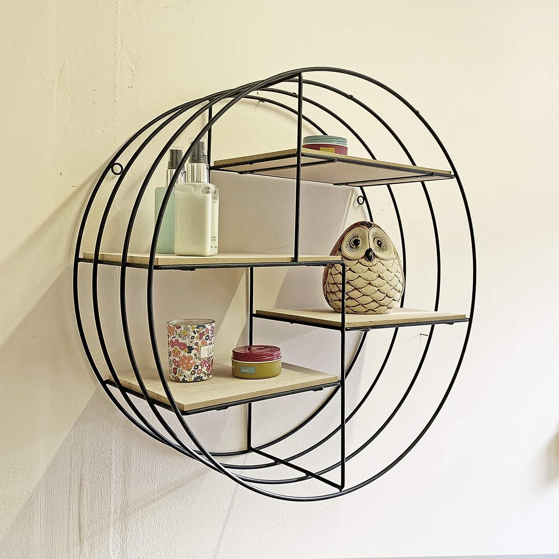 Ablerhome Decoration One Wall Round Cube Shelf Storage Display Shelves Iron Frame Wood Base Shelving NEW Black