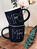 MKT ST Mr and Mrs Ceramic Coffee Mug, Matte Black (Set of 2)