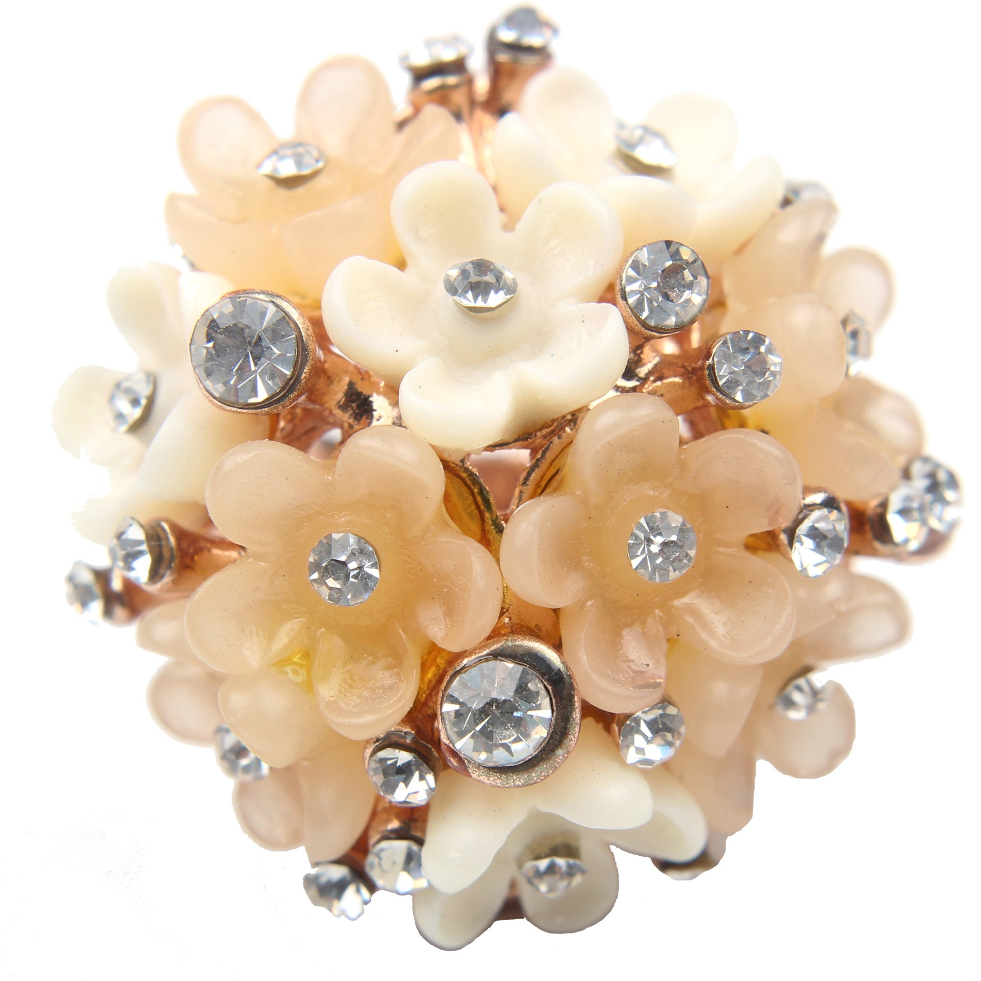 Claire Jin Champagne Rhinestone Resin Flower Ring Fashion Plated 18k Gold Jewelry Big Statement Rings for Women (9)