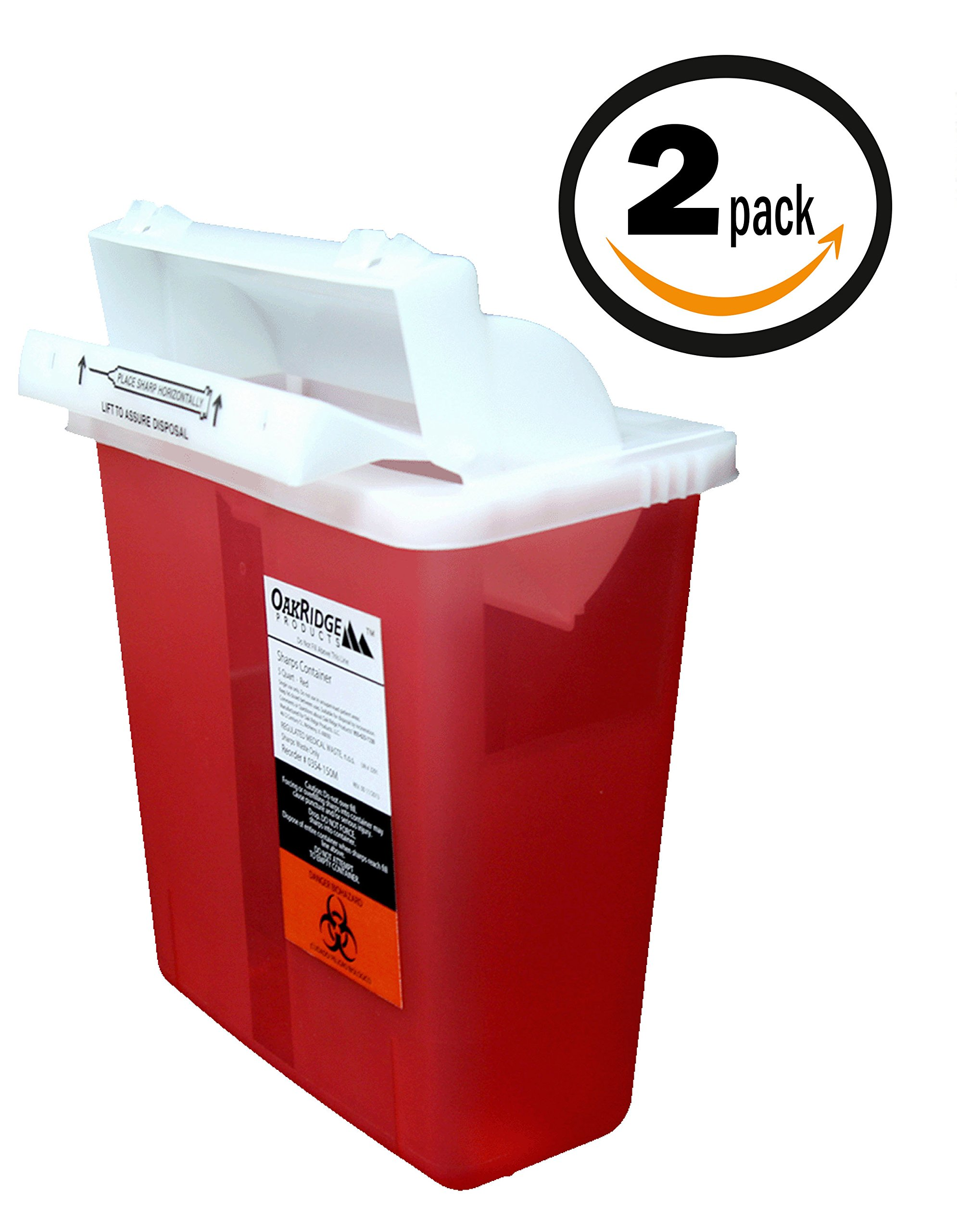 5 Quart Sharps Container (2 Pack) from OakRidge Products | Mailbox-style Lid | FDA Certified
