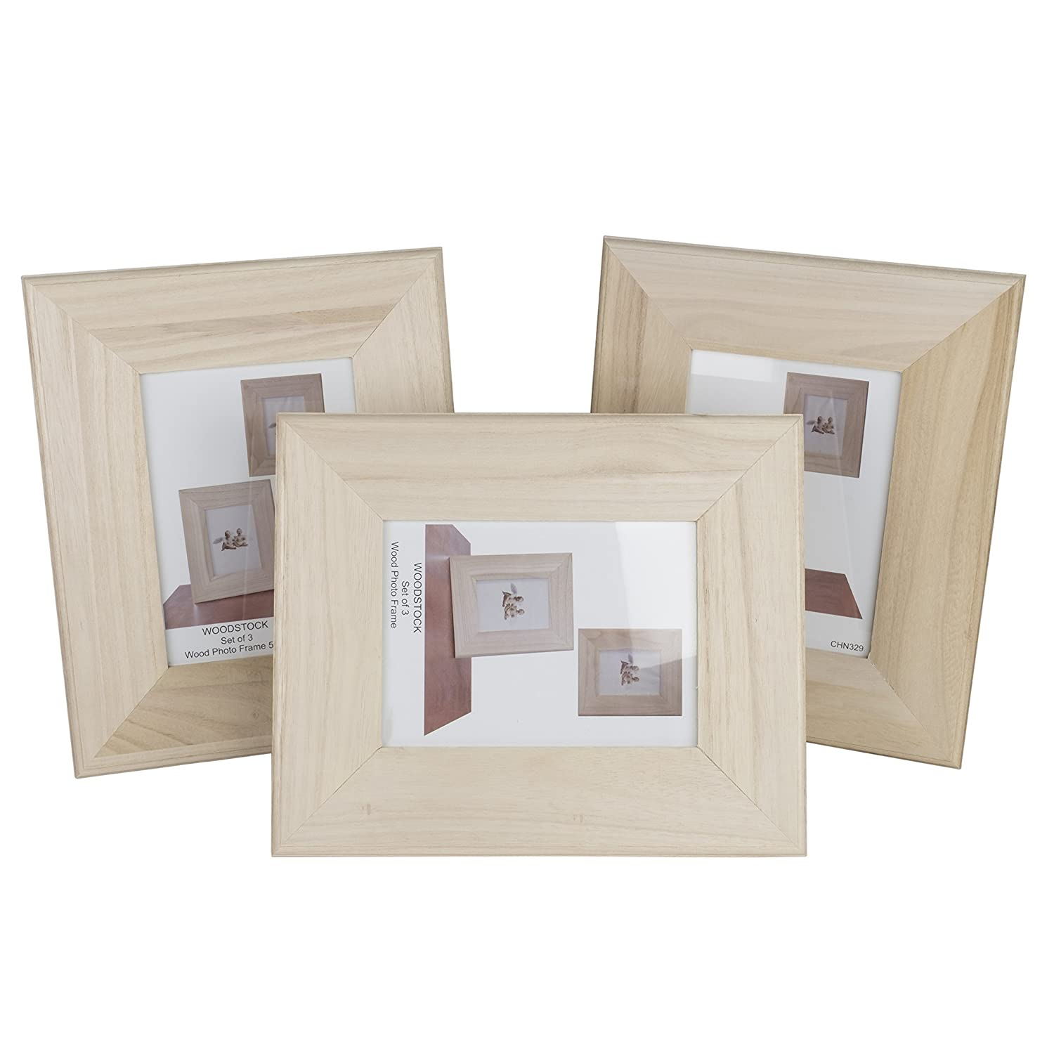 Amazoncom Unfinished Solid Wood Photo Picture Frames 5 By 7 Inches